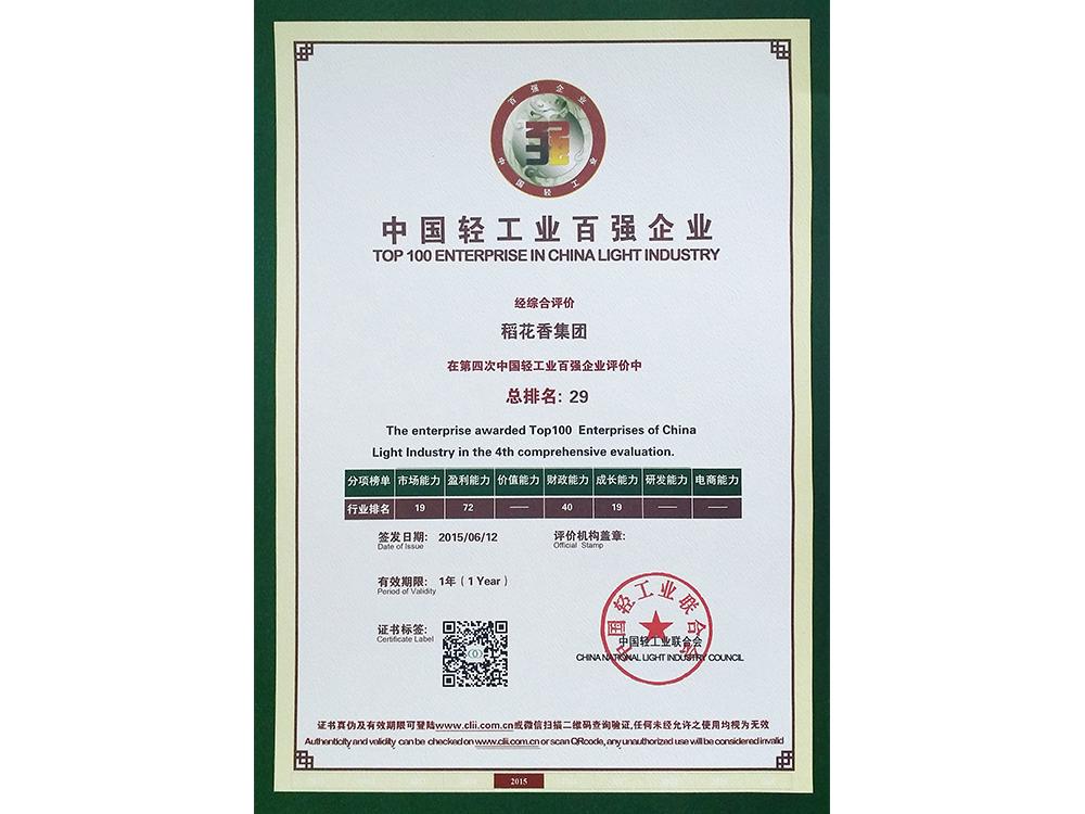 中国轻工业百强企业证书